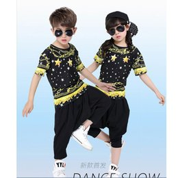 Wholesale Kids Boys Sweatpants - Black Yellow Boys Modern Jazz Dancewear Outfits Kids Hip Hop Party Ballroom Dance Costumes Sweatpants + Hoodie costumes tracksuit outfits