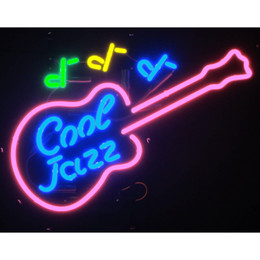 """Wholesale Guitar Wall Decorations - 17""""x14"""" Neon sign Cool Jazz and Blues Game or Music room bass Guitar Wall Art Decoration"""