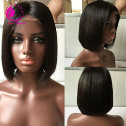 Wholesale Top Quality Virgin Hair - Top Quality Short Bob Straight Human Hair Wigs Bob Full Lace Wig or Lace Frontal Wig Brazilian Virgin Hair Wig For Black Women