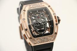 Wholesale Tourbillon Watches Steel - Skull Tourbillon tonneau mens wristwatch 43mm diamond skeleton quartz watch watches transparent sapphire glass back No 05