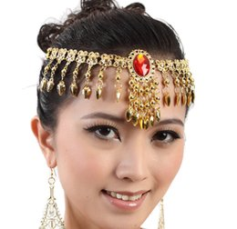 Wholesale Belly Dance Choker - Womens Fashion Belly Dance Costume Red Gem Head wear Bead Gold Coin Dancer Dancing Jewelry Yoga