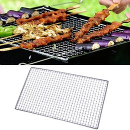 Wholesale White Apron Wholesale - Wholesale- BBQ Mesh Grilling Net Picnic Rectangle Shape Barbecue Tool Silver Tone For Outdoor Cooking Stainless Steel Tools