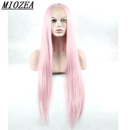 Wholesale long hair wigs smooth - Hair Woman Naturally Smooth Long Straight Wig Synthetic Lace Front Wig Pink 28inch High Temperature Fiber Wigs