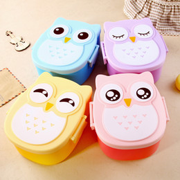 Wholesale Plastic Children Lunch Box - Owl Lunch Box Portable Children Cute Cartoon Picnic Carry Tote Storage Bag Food Safe Partition Plastic Student Microwave Meal Boxes 5aq F R
