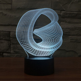 Wholesale Color Changing Paint - Distorted Space 3D Abstract Vision Amazing Optical Illusion 3D Effect 7 color Changing Touch Botton LED Light Table Lamp Night Light