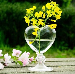Wholesale Heart Glass Vase - 10Pcs Heart glass planter vase air plants terrarium glass vases for home decoration green plants wedding gifts 2017 June Style