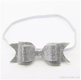 Wholesale Shimmer Elastic Headbands - 6 style available !Baby girls Shimmer Glitter hair bow on skinny elastic headband sequin bowknot hair clip Hair accessories 60pcs