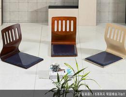 Wholesale Chair Base Wholesale - Smart Folding Wood Tatami Ergonomic Comfort Legless Zaisu Chair Compact Seat Japan Korea Stype Blue Cloth Cushion Base Wooden black walnut