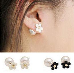 Wholesale Earing Beads - Korean Fashion Jewelry Stud Earrings Charm Pearl Beads Jewelry Gift Pearl Earings Elegant Cute Flower Pearl Ear Stud Earing Ear Accessories