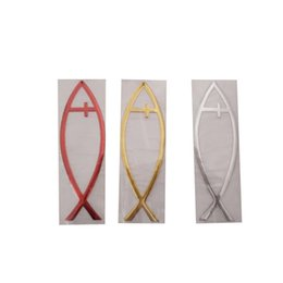 Wholesale 3d Fish Wall Stickers - (30 piece lot) Jesus fish model cross 3D PVC Wholesale car stickers decals wall window stickers car styling car accessories Z-070910-4