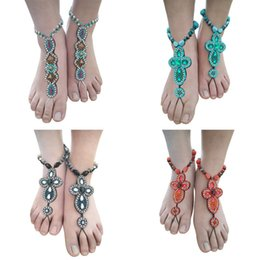 Wholesale Stylish Fashion Bracelet - 1pc Stylish Women Bohemian Wind Beige Anklet Bracelet Wedding Barefoot Sandals Foot Jewelry Floral Fashion Beach Anklet Jewelry