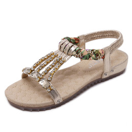 Wholesale Silver Wedge Sandals Crystals - Summer Bohemia Women Sandals Crystal Comfortable Seaside Breathable Flip Flops flat Soft bottom Woman Shoes chaussure femme