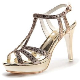 Wholesale Dresses For Office Girls - New Summer Sandals For Women Fashion Stiletto Heel Sandals Ladies Sexy Rhinestone Sandals Girls Lovely Open-toed Sandal Party Shoes