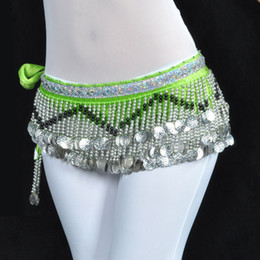 Wholesale Velvet Belly Dance Coin Belt - New Belly Dance Hip Scarf Belt velvet& 258pcs Silver Coins 10 Colors