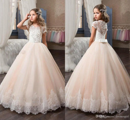 Wholesale Girl Sequin Short Pageant Dresses - 2017 Princess Short Sleeve Flower Girls Dresses Lace Appliqued Delicate Beaded Sequins Ball Gown Floor Length Girls Pageant Birthday Gowns