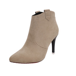 Wholesale martins point - Autumn&winter Pointed Toe Red Bottom High Heel Shoes Women Boots Flock Zipper Ankle Boots Solid Fashion Martin Boots