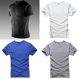 Wholesale Short Hooded T Shirt Men - Wholesale- Men Tops Compression Shirt Under Base Layer Short Sleeve T-Shirt