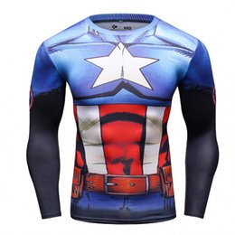 Wholesale Captain 3d - New arrival men Captain America 3d t shirt quick dry long sleeve tights mens marvel superhero tee shirt camisa masculina