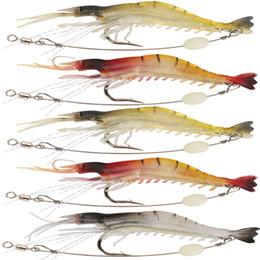 Ganar 5 unids / lote 9 cm / 6 g Señuelo suave de la pesca Camarón Luminoso Cebo Artificial Con Eslabón giratorio 3 colores Señuelos de pesca de cebos desde fabricantes