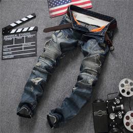 Wholesale Hip Hop Zip Pants - Wholesale-Baggy Hip Hop Patch Men Retro Jeans Knee Rap Hole Zipped Biker Jeans Men Loose Slim Destroyed Torn Seretch Ripped Denim Man Pant