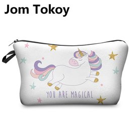Wholesale Cute Pouch Bag - Wholesale- Jom Tokoy 3D Printing Unicorn Makeup Bags Multicolor Pattern Cute Cosmetics Pouchs For Travel Ladies Pouch Women Cosmetic Bag