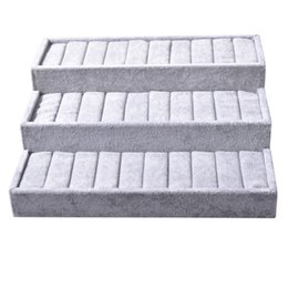 Wholesale Cashmere Jewelry - Argositment Ice gray cashmere three silver bracelet display tray