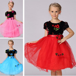 Wholesale Velvet Baby Princess Dress - Girls Rose Floral Princess Dresses With Velvet Children Summer New Party Slim Lace Party Wedding Prom Gown Dress Baby Clothing PX-A02