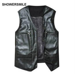 Wholesale Cheap Warm Black Winter Coat - Wholesale- Large Size Black Leather Vest Men Fleece Lined Warm Jackets Sleeveless Coat Winter Pu Leather Vest Pocket Classic Cheap Gilet