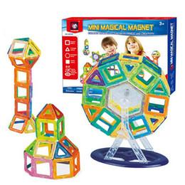 2019 blocos de construção do castelo de brinquedo de plástico 58 PCS Conjunto de Blocos de Construção Magnéticos Crianças Ímã Construção Toy Rainbow Color para Criatividade Educacional Presente de Natal das Crianças com Caixa
