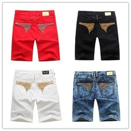 Wholesale Mens Jeans Free Shipping - 2017 new Wholesale-Free Shipping Summer Men's Designer Short Jeans Mens Robin Jean Cowboy Denim Short Pants