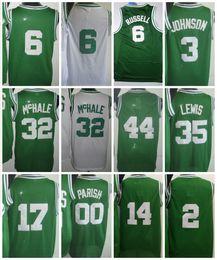 Wholesale Bills Throwback Jersey - Throwback 00 Robert Parish Basketball Jersey 3 Dennis Johnson 6 Bill Russell 32 Kevin Mchale 35 Reggie Lewis 44 Danny Ainge Green White