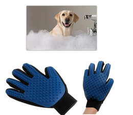 Wholesale Dog Cat Accessories - 2017 True Touch Five Finger Deshedding Glove Pet Grooming Dogs Bath Glove Making Pets Hair Cleanup For All Dogs & Cats