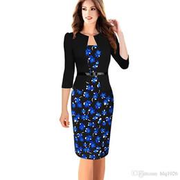 Wholesale Long Sleeve Retro Knit Dress - Fashion Women Retro Vintage Faux Two Piece Dress Elegant Lady Plaid Long Sleeve Pencil Dress free shipping