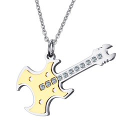 Wholesale Gold Music Pendants - Meaeguet Trendy Guitar Necklaces&Pendants With CZ Stone Stainless Steel Punk Rock Music Jewelry For Men Wholesales PN-608