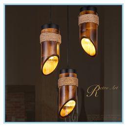 Wholesale Bamboo Pendant Lights - New Style! Loft Style Hemp Rope Bamboo Tube Droplight LED Pendant Light Fixtures For Dining Room Hanging Lamp 110V- 220V