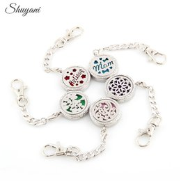 Wholesale Essentials Girls - Alloy Flower Tree Aromatherapy Locket Keychain Essential Oil Perfume Diffusing Magnetic Locket Pendant Mix Styles Free Shipping