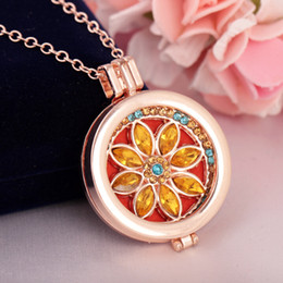Wholesale Colorful Rhinestone Necklaces - Luxury Fine Jewelry Colorful Crystals Design Oil Diffuser Necklace Aromatherapy Locket Pendant Necklaces For Women Party