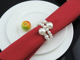 Wholesale Wholesale Pearls For Decorations - 60Pcs Lot White Pearls Napkin Rings Wedding Napkin Buckle For Wedding Reception Party Table Decorations Supplies