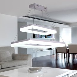 Wholesale acrylic ceiling lamp chandelier - Modern Creative LED Rectangle Pendant Lamp Bedroom Chandeliers Acrylic Pendant Lamp Rectangle Ceiling Light Droplight Dining Room LED Lamp