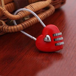 Wholesale Heart Shaped Plastic Bag - 200pcs Lovely Heart Shape Resettable Combination Padlock Metal Luggage Suitcase Bag Diary 3 Digits Lock Cabinet Safe ZA1351