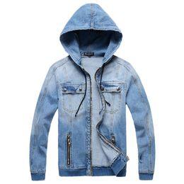 Wholesale Ribbon Jeans - Mens Denim Jacket hooded sportswear Outdoors Casual fashion Jeans Jackets Hoodies Cowboy Mens Coats