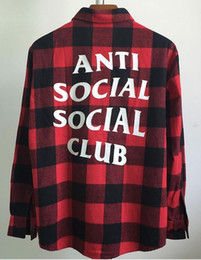 Wholesale Plaid Flannels - 2017 New fear of god Social Club Plaid Shirt Hip Hop Flannel Cotton Shirt Long Sleeve Red Unisex Street Wear