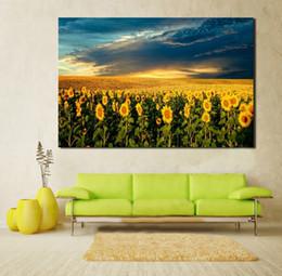 Wholesale Sunflower Oil Painting Canvas - Single Unframed Beautiful Sunflower Golden Landscape Painting Oil Painting On Canvas Giclee Wall Art Painting Art Picture For Home Decorr