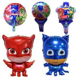Fumetto di aerostato di aria online-50pcs PJ MASK Eroe Balloon Cartoon Foil Balloons Superman Cartoon Hero Birthday Party Decorazioni Globos Giocattoli per bambini Air Balloons