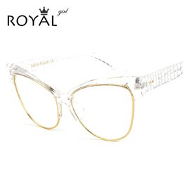 Wholesale Wholesale Optical Bags - Wholesale- ROYAL GIRL Newest Cat Eye Eyeglasses Frames Women Glasses Brand Designer Optical Glasses With Bag SS021