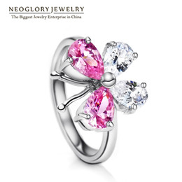 Wholesale Gift Sets Wholsale - NOOSA Snap Charms butterfly rings for women Neoglory fashion jewelry wedding ring Wholsale high quality lovers gift