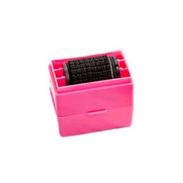 Wholesale Rubber Stamping Wholesale - Wholesale- Candy Color Garbled Roller Rubber Wheel Secure Stamp For Protect Office Document Privacy Protect Sealing Tool Postage Stationery