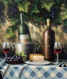 Wholesale Italian Art Glass - Framed Italian Wine Bottles Glasses Cheese,Hand-painted Still Life Art oil painting Canvas,Multi sizes Free Shipping J020