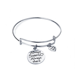Wholesale Friends Forever Bracelets - Always sisters my heart Always there Bracelet women thank you adjustable bracelets pendants best friend sis forever Bangle girl