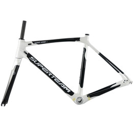 Wholesale Road Bike Carbon 53 - Superteam 700c Carbon Frame Road Bike Frame 47  50  53  56  59 cm Black Carbon Frame with BSA
